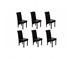 vidaXL Silla de comedor negra madera y cuero sintético, 6 unidades