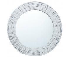 vidaXL Espejo de mimbre blanco 50 cm