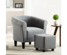 vidaXL Set de sillón con taburete reposapiés 2 piezas tela gris claro