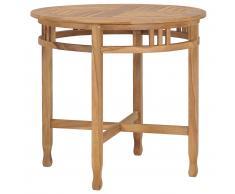 vidaXL Mesa de comedor de madera maciza de teca Ø 80 cm