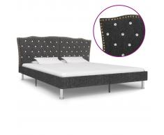 vidaXL Estructura de cama de tela gris oscura 160x200 cm