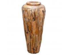 vidaXL Jarrón decorativo de madera maciza de teca 40x80 cm