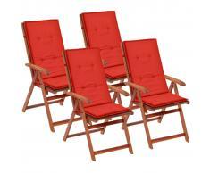 vidaXL Cojines para sillas de jardín 4 unidades rojos 120x50x3 cm