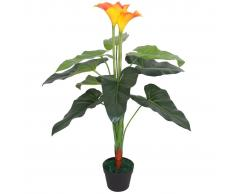 vidaXL Planta cala lilly artificial con maceta 85 cm roja y amarilla