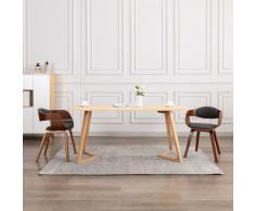 vidaXL Sillas de comedor 2 unidades madera curvada y tela gris