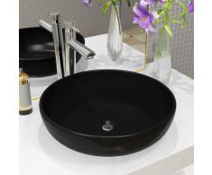 vidaXL Lavabo redondo de cerámica negro 42x12 cm