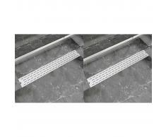 vidaXL Desagüe lineal de ducha 2 piezas 830x140 mm acero inoxidable