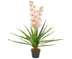 vidaXL Planta artificial orquídea con macetero 90 cm rosa