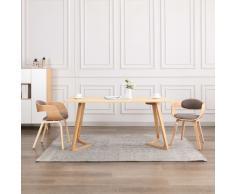 vidaXL Sillas de comedor 2 unidades madera curvada y tela gris taupe