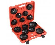 vidaXL Herramientas para cambio de filtro de aceite tipo copa 15 pzas