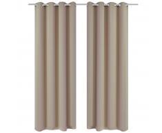 vidaXL Cortinas opacas 2 piezas con ojales de metal 135x175 cm crema
