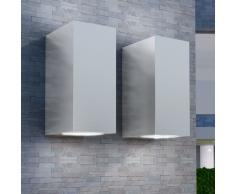 vidaXL Lámpara de pared exterior 2 uds cuadrada ascendente/descendente