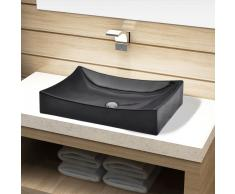 vidaXL Lavabo de cerámica rectangular color negro