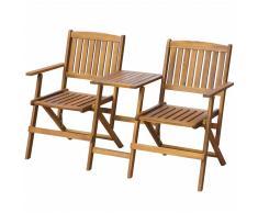 vidaXL Banco de jardín plegable con mesa té madera maciza acacia