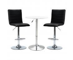 vidaXL Set de mesa alta y taburetes de bar 3 piezas cuero sintético blanco