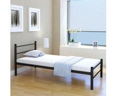 vidaXL Estructura de cama de metal negra 90x200 cm