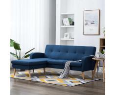 vidaXL Sofá con forma de L tapizado de tela azul 186x136x79 cm