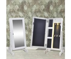 vidaXL Espejo armario joyero blanco con luz LED