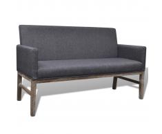 vidaXL Sofá con cojín acolchado de tela y madera caucho gris oscuro