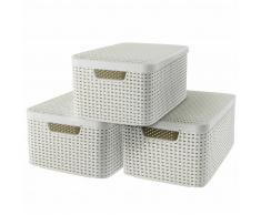 Curver Cajas de almacenaje con tapa Style 3 unidades M blanco 240654
