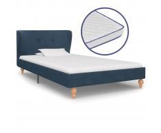 vidaXL Cama con colchón viscoelástico tela azul 90x200 cm