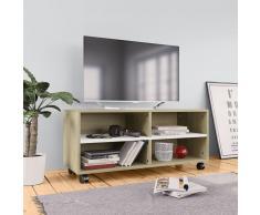 vidaXL Mueble para TV con ruedas aglomerado blanco y Sonoma 90x35x35cm