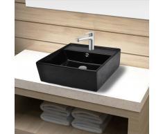 vidaXL Lavabo de cerámica con agujero para grifo/desagüe negro cuadrado