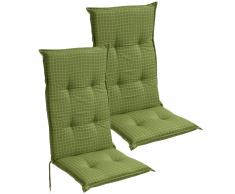 vidaXL Cojín para sillas de jardín 2 unidades 117x49 cm verde