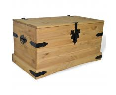 vidaXL Baúl de almacenaje de madera de pino mejicana Corona Range 91x49,5x47 cm