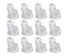vidaXL Funda de silla para banquete de boda 12 unidades blanco