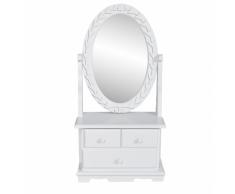 vidaXL Tocador con espejo abatible ovalado de MDF