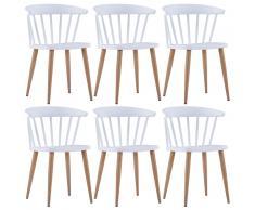 vidaXL Sillas de comedor 6 unidades plástico y acero blanco