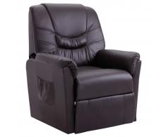 vidaXL Sillón reclinable de cuero sintético marrón