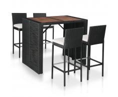 vidaXL Mesa y sillas bar jardín 5 pzas ratán sintético y madera negro