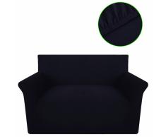 vidaXL Funda elástica de algodón para el sofá, color negra