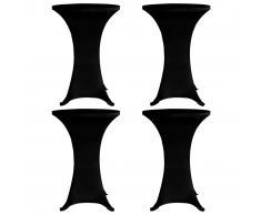 vidaXL Mantel elástico para mesa alta 4 unidades negro Ø80 cm