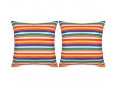vidaXL Cojines decorativos de rayas estrechas lona 2 unidades 45x45 cm