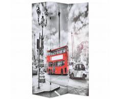 vidaXL Biombo divisor plegable 120x180 cm bus Londres blanco y negro