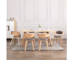 vidaXL Sillas de comedor 6 unidades madera curvada y tela gris taupe