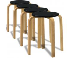 vidaXL Taburete de cocina bar apilable, 4 unidades madera negra curvada