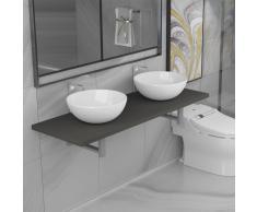 vidaXL Conjunto de muebles de baño de tres piezas cerámica gris