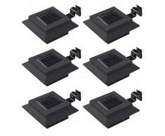 vidaXL Lámparas solares LED de exterior 6 uds cuadradas 12 cm negro