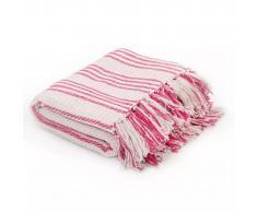 vidaXL Manta a rayas 220x250 cm algodón rosa y blanco
