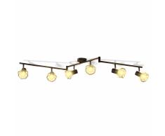 vidaXL Lámpara LED de techo, estilo industrial, seis focos negro