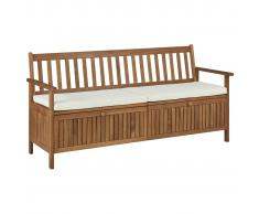 vidaXL Banco de almacenaje con cojín de madera maciza de acacia 170 cm