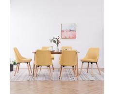 vidaXL Sillas de comedor 6 unidades de tela amarilla