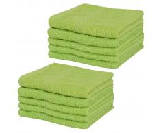 vidaXL Toalla de cortesía 10 unidades algodón 360 g/m² 30x30 cm verdes