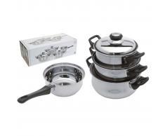 Excellent Houseware Juego de cacerolas 7 piezas acero inoxidable 3 mm