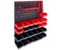 vidaXL Kit de cajas de almacenaje 29 pzas paneles de pared rojo negro