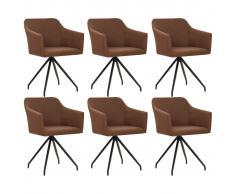vidaXL Sillas de comedor giratorias 6 unidades tela marrón